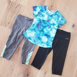 Girls Activewear Watercolor Top & Crop Pants